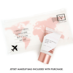 Jetset & Protect Leave-on Mask and makeup bag