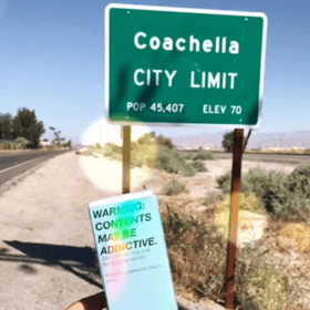 prismatic luminizing shield spf 50 box in front of coachella