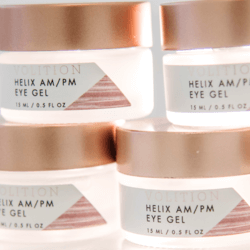 four jars of Helix AM/PM Eye Gel
