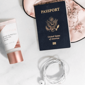 Jetset & Protect Leave-on Mask with passport flatlay
